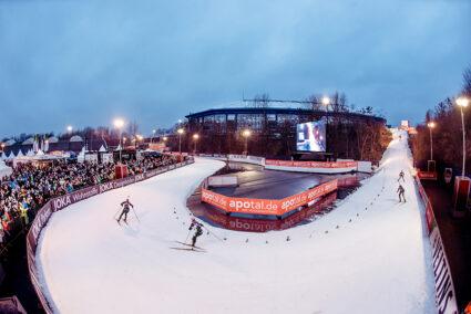 Biathlonstrecke auf Schalke außerhalb des Stadions