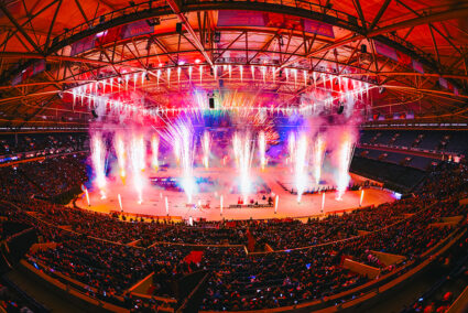Feuerwerksspektakel in der Veltins-Arena beim Biathlon auf Schalke