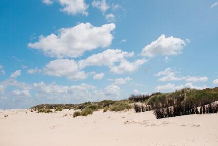 Der Strand auf Borkum mit blauem Himmel und Wolken