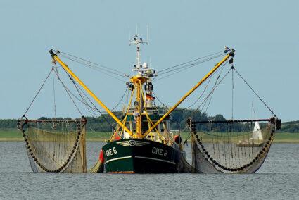Ein Fischkutter mit ausgefahrenen Netzen vor Borkum