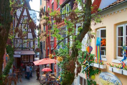 Bunte Häuser im Schnoorviertel in Bremen
