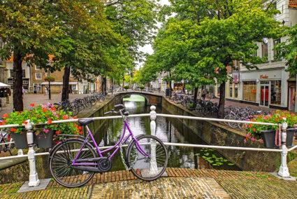 Lila Fahrrad steht auf einer Brücke in der Altstadt von Delft