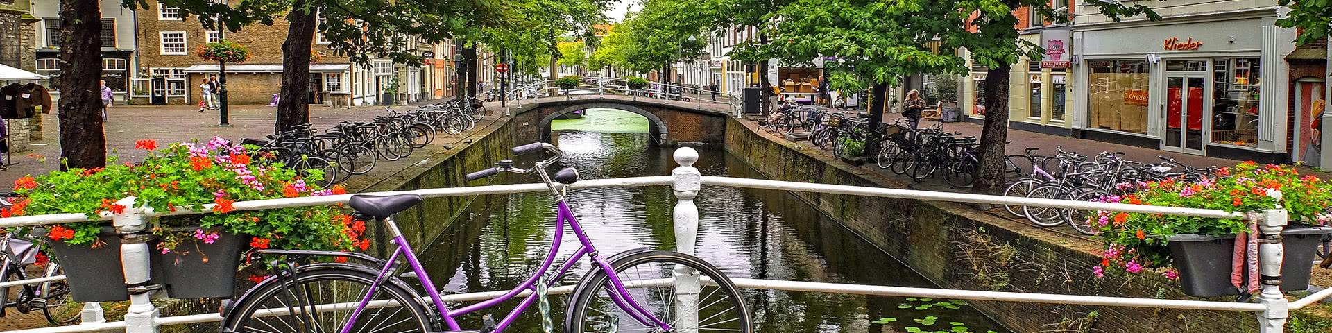 Lila Fahhrad auf einer Brücke in der Altstadt von Delft