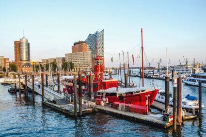 Feuerschiff in der Hafencity in Hamburg