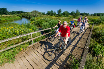 Radfahrer fahren über eine Brücke im Hasetal