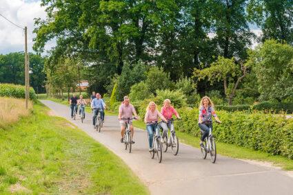 Gruppe macht Radtour durch das Hasetal