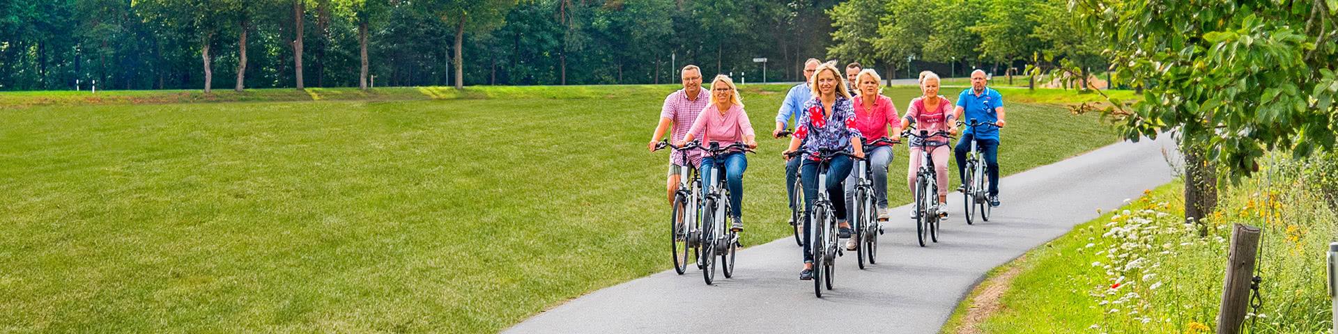 Gruppe macht Radtour vorbei an grünen Wiesen im Hasetal