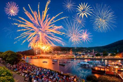 Feuerwerk über der Altstadt von Heidelberg