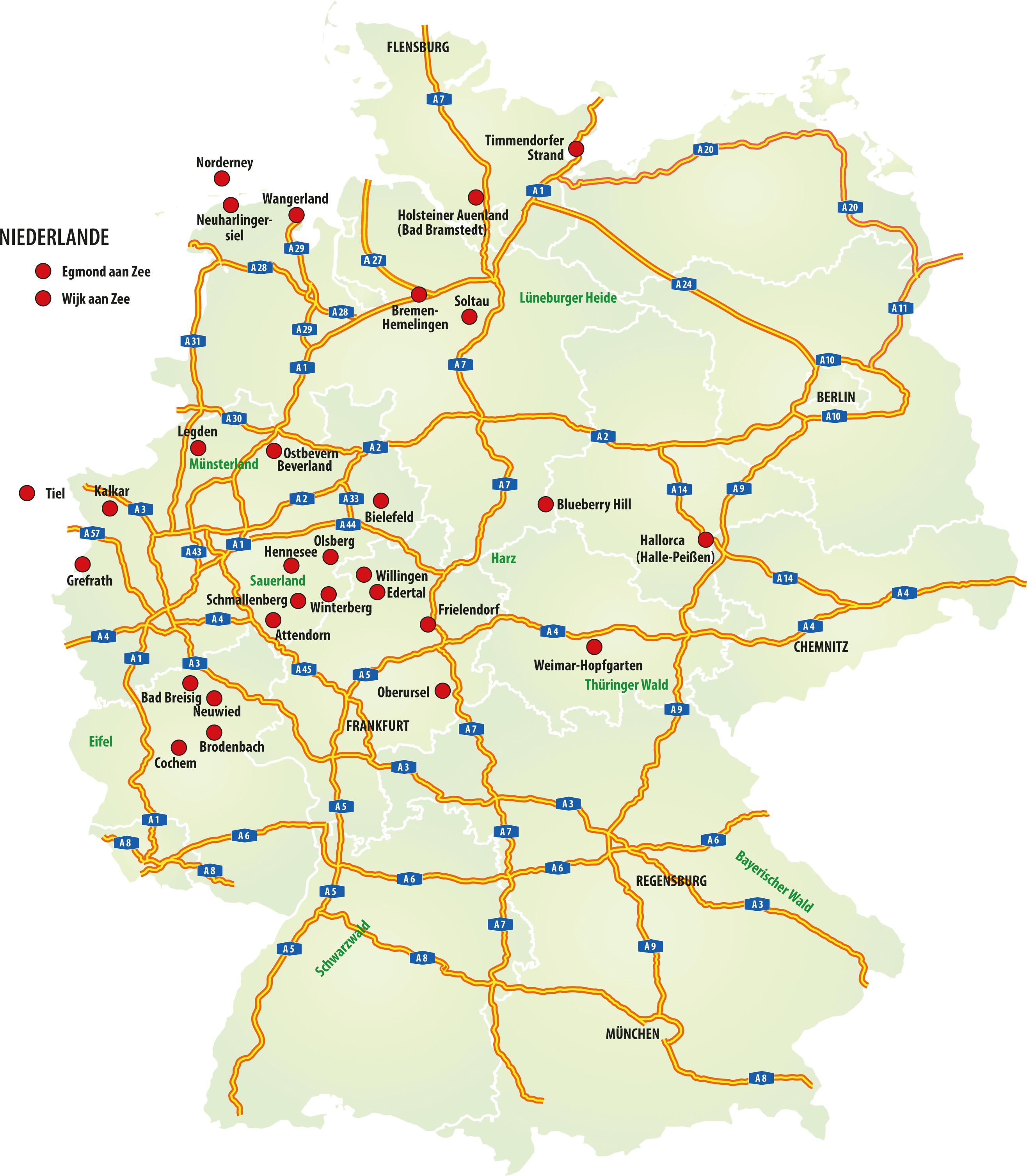 Zielorte Partytouren Deutschland und Niederlande