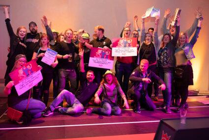 Gruppenfoto aller Sieger der Kegelparty im Dorf Münsterland in Legden
