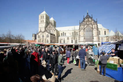 Wochenmarkt vor dem St. Paulus Dom in Münster