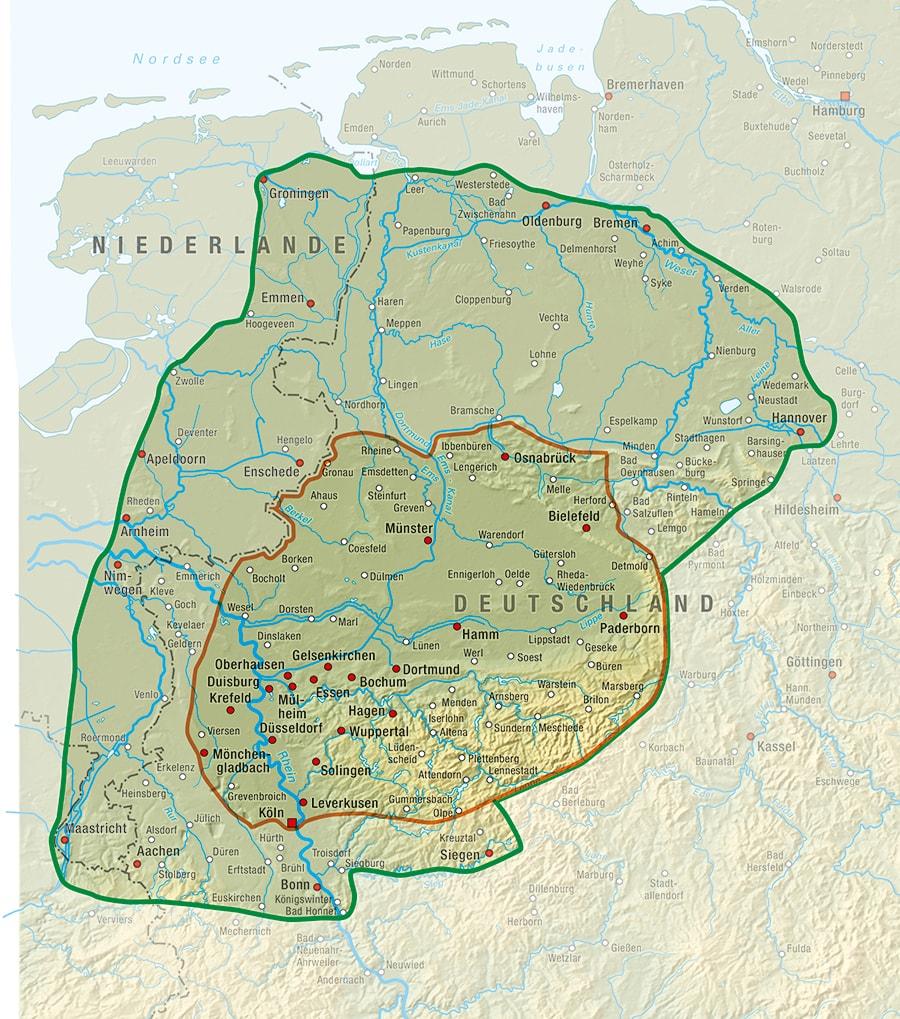 Landkarte Regionen Abholservice