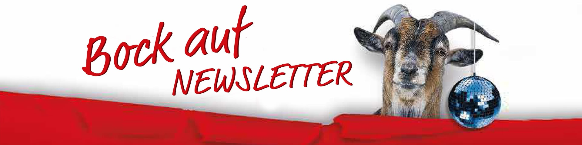 Bock auf Newsletter ein Ziegenbock an dessen Horn eine kleine Discokugel hängt